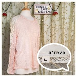 NEW A REVE ANTHRO CREAM LACE SHOULDER BLUSH BLOUSE